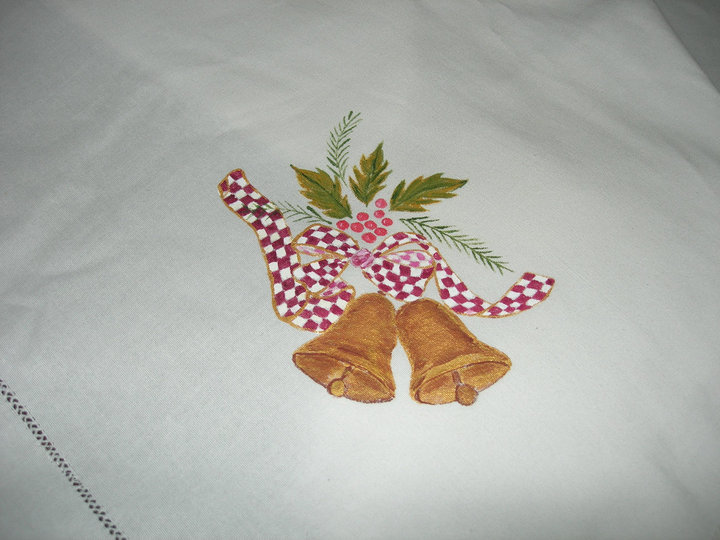 Manteles navide os en pintura en tela imagui - Pintura en tela motivos navidenos ...