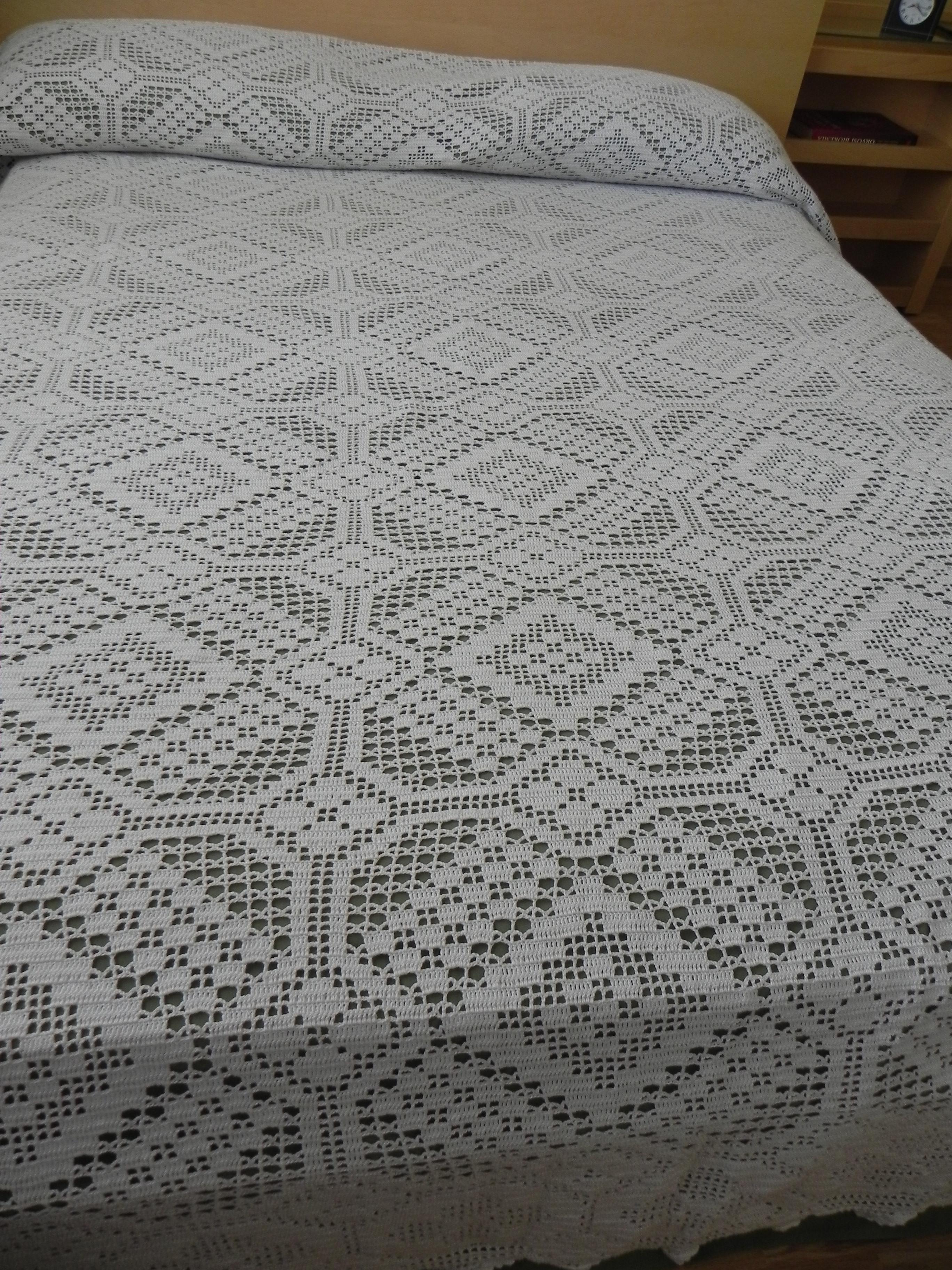 Crochet cubierta de cama de ganchillo bed cover tijeras - Dibujos de ganchillo ...